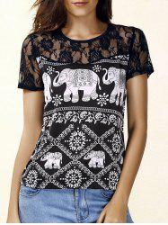 Trendy Jewel Neck Short Sleeve Lace Panelled Print Blouse For Women -
