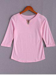 Stylish V Neck 3/4 Sleeve Loose T-Shirt For Women
