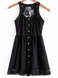 Stylish Straps Single-Breasted Solid Color Lace Splicing Women's Dress -