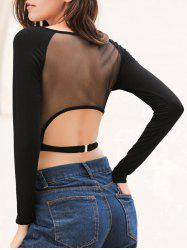 Long Sleeve Mesh Saree Blouse Crop Top - BLACK S