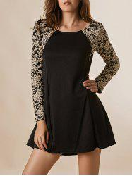 Lace Splicing Nipped Waist Long Sleeve Round Neck Women's Dress - BLACK