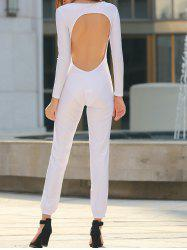Sexy U Neck Long Sleeve Backless Jumpsuit For Women -