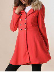 Women Woolen Winter Trench Double Button Coat -