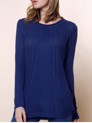 Ladies Loose Long Sleeve Knit Pullover Cardigan Tops Sweater - DEEP BLUE