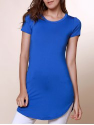 Brief Round Neck Short Sleeve Solid Color Asymmetrical Women's T-Shirt - BLUE