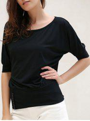 Casual Scoop Neck Half Sleeves Solid Color Single Breasted T-Shirt For Women -