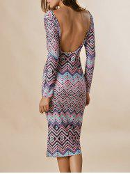 Long Sleeve Backless Zigzag Midi Club Dress - COLORMIX