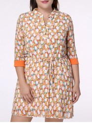 Sweet Plus Size Stand Collar Half Sleeve A-Line Printed Women's Dress -