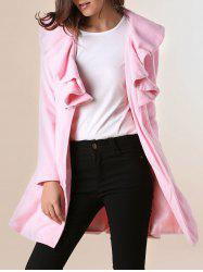 Long Sleeves Ruffles Lapel Beam Waist Long Sections Stylish Women's Trench Coat -