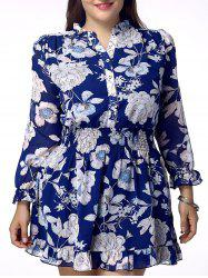 Sweet Plus Size Stand Collar Floral Print Flounced Women's Dress