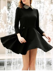 Puff Sleeves Flat Collar Nail Bead Beam Waist Ruffles Casual Women's Dress