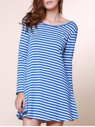 Stylish Scoop Neck Stripe Print Backless Long Sleeve Dress For Women - BLUE