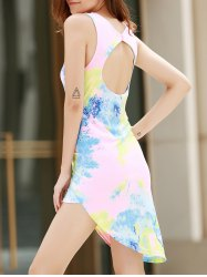 Alluring Plunging Neck Sleeveless Printed Asymmetrical Women's Dress - COLORMIX