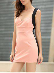 Straps Four Buttons Low-Cut Sleeveless Bodycon Dress - PINK