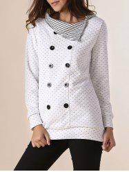 Stylish Pinstripe Turn-Down Collar Long Sleeve Double-Breasted Women's Sweatshirt - OFF-WHITE
