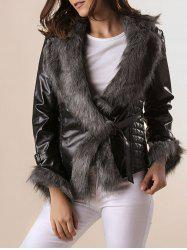Stylish Turn-Down Collar Long Sleeve Spliced Women's Coat -