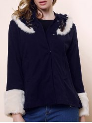 Horns Buckle Fashionable Style Long Sleeves Cashmere Color Block Women's Coat - NAVY