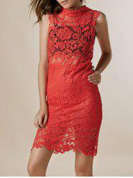 Sexy tortue cou manches solides Couleur See-Through Dress dentelle -