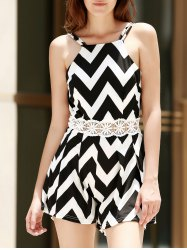 Sexy Spaghetti Strap Sleeveless Wave Print Backless Women's Romper - WHITE AND BLACK