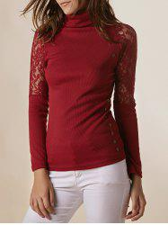Stylish Turtleneck Long Sleeve Lace Splicing Sweater For Women - CLARET ONE SIZE(FIT SIZE XS TO M)