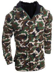 Modish Loose Fit Hooded Multi-Pocket Camo Pattern Long Sleeve Thicken Cotton Blend Coat For Men