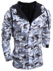 Modish Loose Fit Hooded Multi-Pocket Camo Pattern Long Sleeve Thicken Cotton Blend Coat For Men - LIGHT GRAY