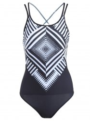 Stylish Geometric Pattern Lace-Up One-Piece Swimsuit For Women