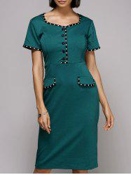 Vintage Sweetheat Neckline Polka Dot High Waisted Midi Dress For Women