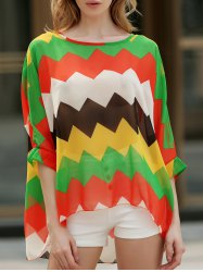 Casual Boat Neck Batwing Sleeve Color Block Chiffon Blouse For Women