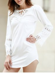 Casual White Lace Splicing Backless Dress For Women - WHITE