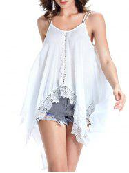 Charming Spaghetti Strap Lace Spliced Asymmetrical Women's Tank Top