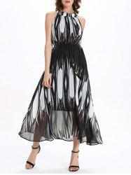 Chiffon Stand Collar Sleeveless Flowing Prom Maxi Dress