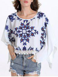 Chic Round Collar Batwing Sleeve Floral Print Fringed Women's Blouse