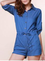 Vintage Shirt Collar Solid Color 3/4 Sleeve Lace-Up Jeans Rompers For Women -