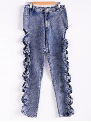 Vintage Detailed Woman Side Bow Cutout Ripped Denim Sexy Jeans - LIGHT BLUE