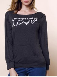Stylish Skew Neck Long Sleeve Letter and Heart Print Women's Sweatshirt - DEEP GRAY