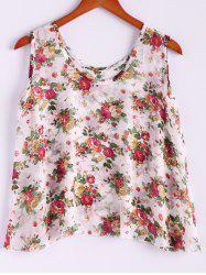 Sweet Scoop Neck Sleeveless Floral Print Women's Tank Top - APRICOT