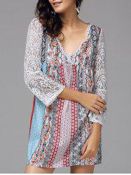 Floral Lace Panel Bohemian Tunic Dress -