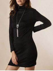 Turtleneck Mini Long Sleeve Knit Dress - BLACK