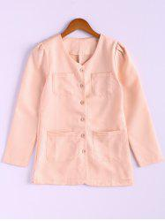 Casual Style Scoop Neck Candy Color Puff Sleeve Cotton Women's Coat - PINK