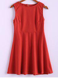 Zipper Sleeveless Simple Style Polyester Round Neck Women's Dress (Without Belt)