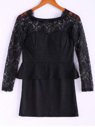Long Sleeves Lace Splicing Boat Neck Sexy Style Women's Dress - BLACK