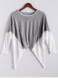 Fashion Style Color Block Splice Irregular Hem Loose Fit Women's Blouse - GRAY