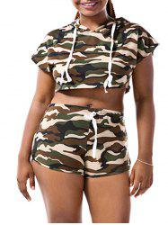 Hooded Camo Crop Top with Shorts - CAMOUFLAGE