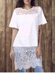 Chic Women's Jewel Neck Laced Beaded Short Sleeve T-Shirt -