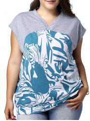 Chic Plus Size V Neck Print Loose Women's T-Shirt