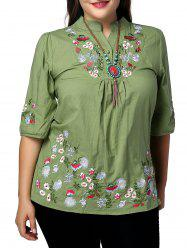 Ethnic Plus Size Stand Collar Floral Embroidered Women's Blouse