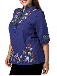 Ethnic Plus Size Stand Collar Floral Embroidered Women's Blouse -