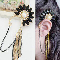 Exaggerated Flower Faux Gem and Artificial Pearl Alloy Tassel Ear Cuff For Women -