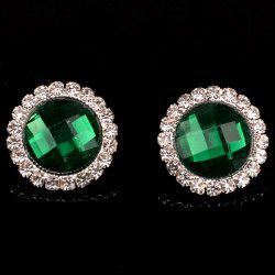 Pair of Vintage Rhinestone Embellished Round Earrings For Women
